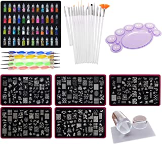 Lifestyle-You™ Mega Combo Kit of Nail Art Tools – 3d Nail Art, Nail Stamping Image Plates, Silicone Stamper, Nail Art Brush set, Nail Dotting Tool Set, Nail Art Palette.