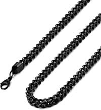 FIBO STEEL 3-6mm Stainless Steel Black Franco Chain Necklace for Men Biker Punk Style 18-36 inches