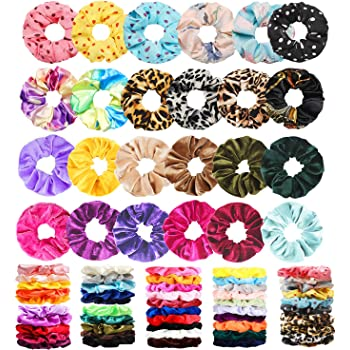 75 Pcs Premium Velvet Hair Scrunchies Silk Scrunchies Chiffon Flower Hair Bands for Women or Girls Hair Accessories with Gift Bag,Great Gift for Birthday ,Party,Halloween ,Thanksgiving,Christmas New Year