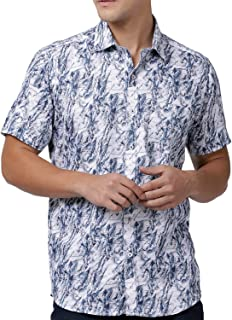 Zeal White Printed Mens Smart Shirt Cotton Casual Regular Fit Half Sleeve Spread Collar