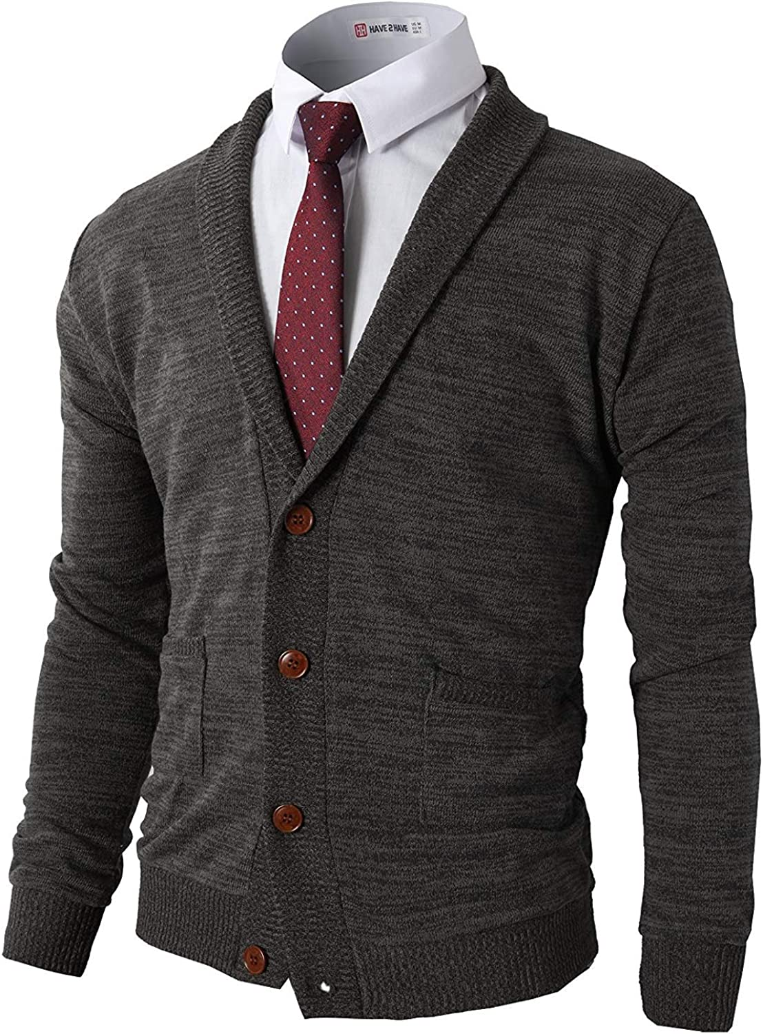 H2H Mens Casual Comfortable Fit Cardigan Sweater Shawl Collar Soft Fabric with Ribbing Edge