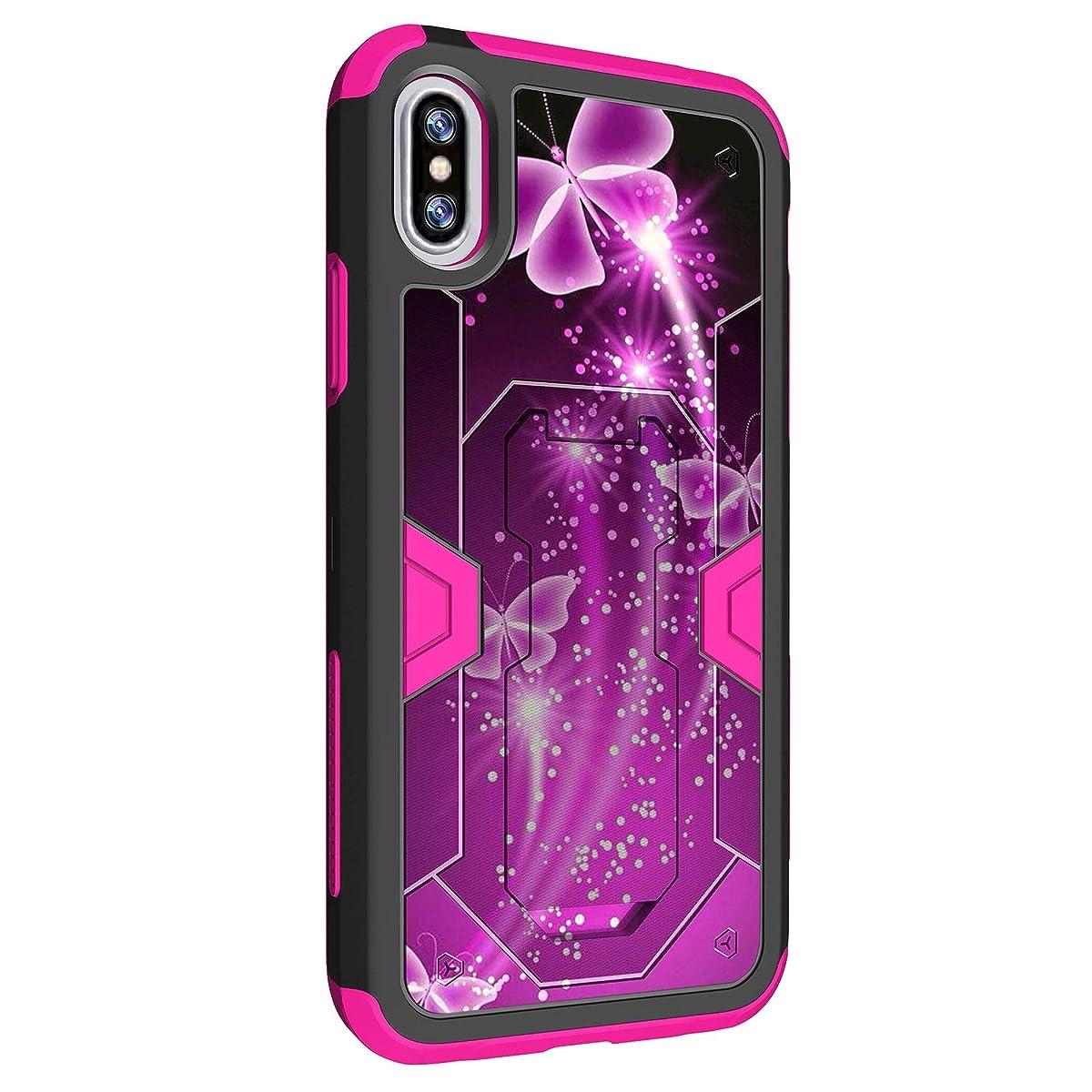 MINITURTLE Case Compatible w/ Premium Pink Hybrid Silicone Apple iPhone X Case w/ Clip [Pink Max Defense Case for Apple iPhone X] iPhone X HighImpact Stand & BeltClip Case Hot Purple Butterfly