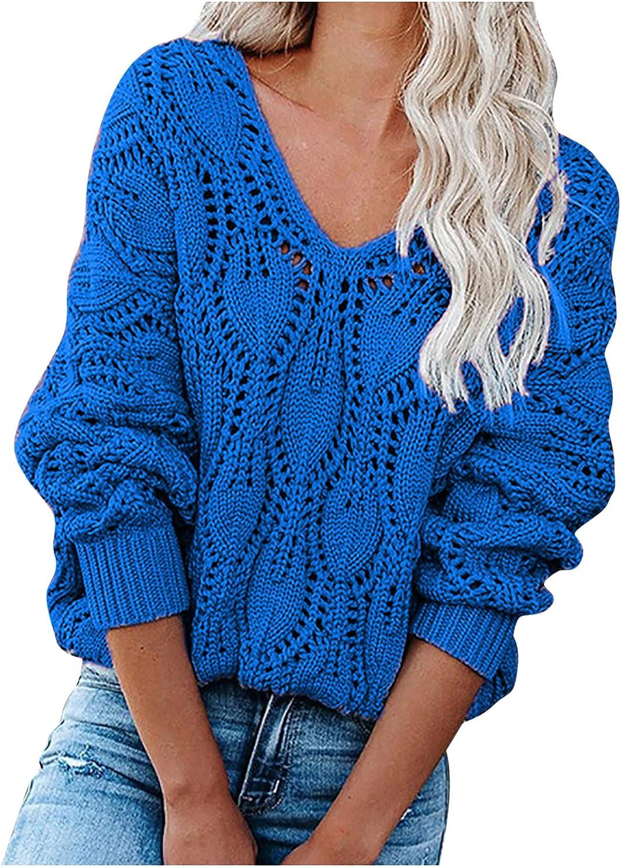 Women Fall Mesh Knit Sweaters,Solid V Neck Elegant Long Sleeve Knit Tops,Office Crochet Lighweight Vintage Pullover