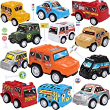 Toy Cars With Road Signs,12 Pieces Pull Back Unique Vehicles Play Set,Mini Cars Including Racing/Emergency/Fire Engine/School Bus/Police/Off Road Cars for Kids Toddlers Over 3 Years