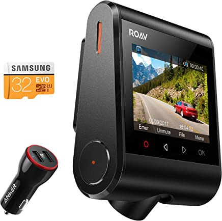 """Anker Roav Dash Cam C1, Dashboard Camera Recorder, 2.4"""" LCD, 1080P FHD, 4-Lane Wide-Angle View Lens, Built-In WiFi, G-Sensor, WDR, Loop Recording, Night Mode, 2-Port Charger, 32G microSD Card Included"""
