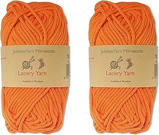 BambooMN Brand - Lacery Yarn 100g - 2 Skeins - 100% Cotton - Orange Peel - Color 1359