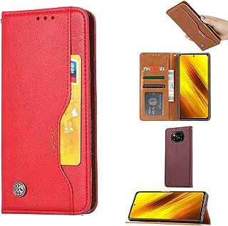 高級フロントカードスロットフリップフォリオレザーウォレット電話ケースカバー(表示スタンド付き)、Xiaomi POCO X3 NFCと互換性あり (赤)