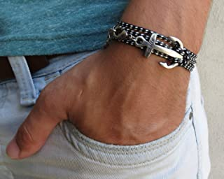 Handmade Wrap Black and White Fabric Anchor Bracelet For Men By Galis Jewelry - Wrap Bracelet For Men - Black Bracelet For men - Nautical Jewelry