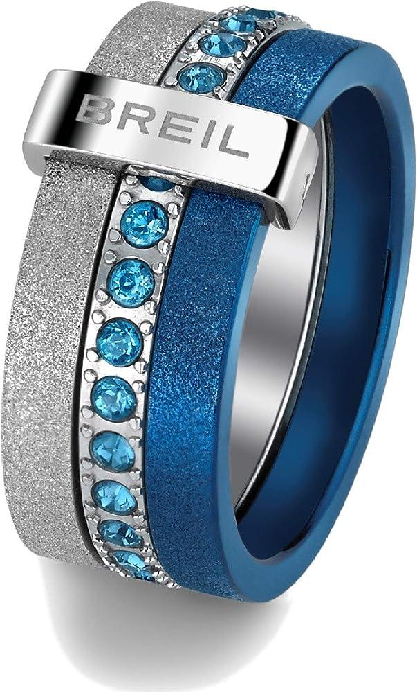 breil anello donna collezione breilogy in acciaio con cristalli e finiture diamantate tj1424