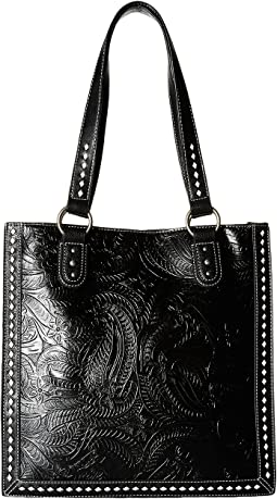 M&F Western Floral Embossed Buck Stitch Tote