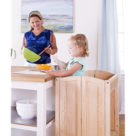 Guidecraft Heartwood Kitchen Helper - Solid Maple: Premium Solid Wood, Folding, Adjustable Height Baking Stool For Toddlers, Kids Cooking Furniture - Limited Edition
