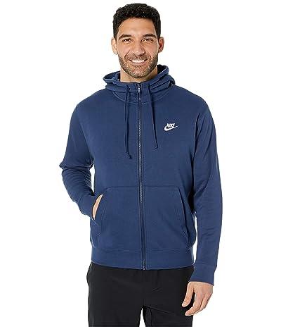 Nike NSW Club Hoodie Full Zip (Midnight Navy/Midnight Navy/White) Men