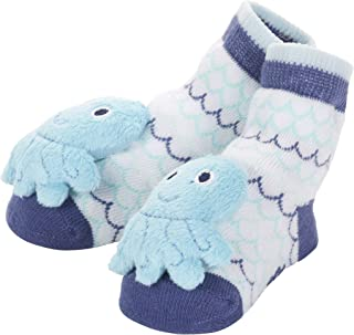 C.R. Gibson Blue Octopus Rattle Sock Booties for Babies, 6.6'' x 5.8'' x 0.8''