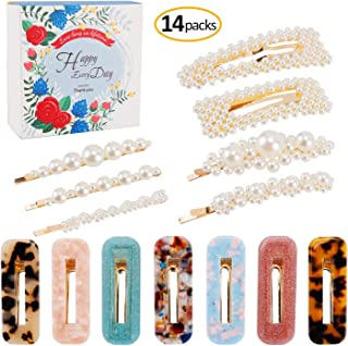 Pearls Hair Clips Acrylic Resin Hair Barrettes for Women Girls, Fashion Bling Pearl Hairpins Acetic Acid Hollow Geometric Alligator Clips for Ladies Hair Accessories 14 Pcs