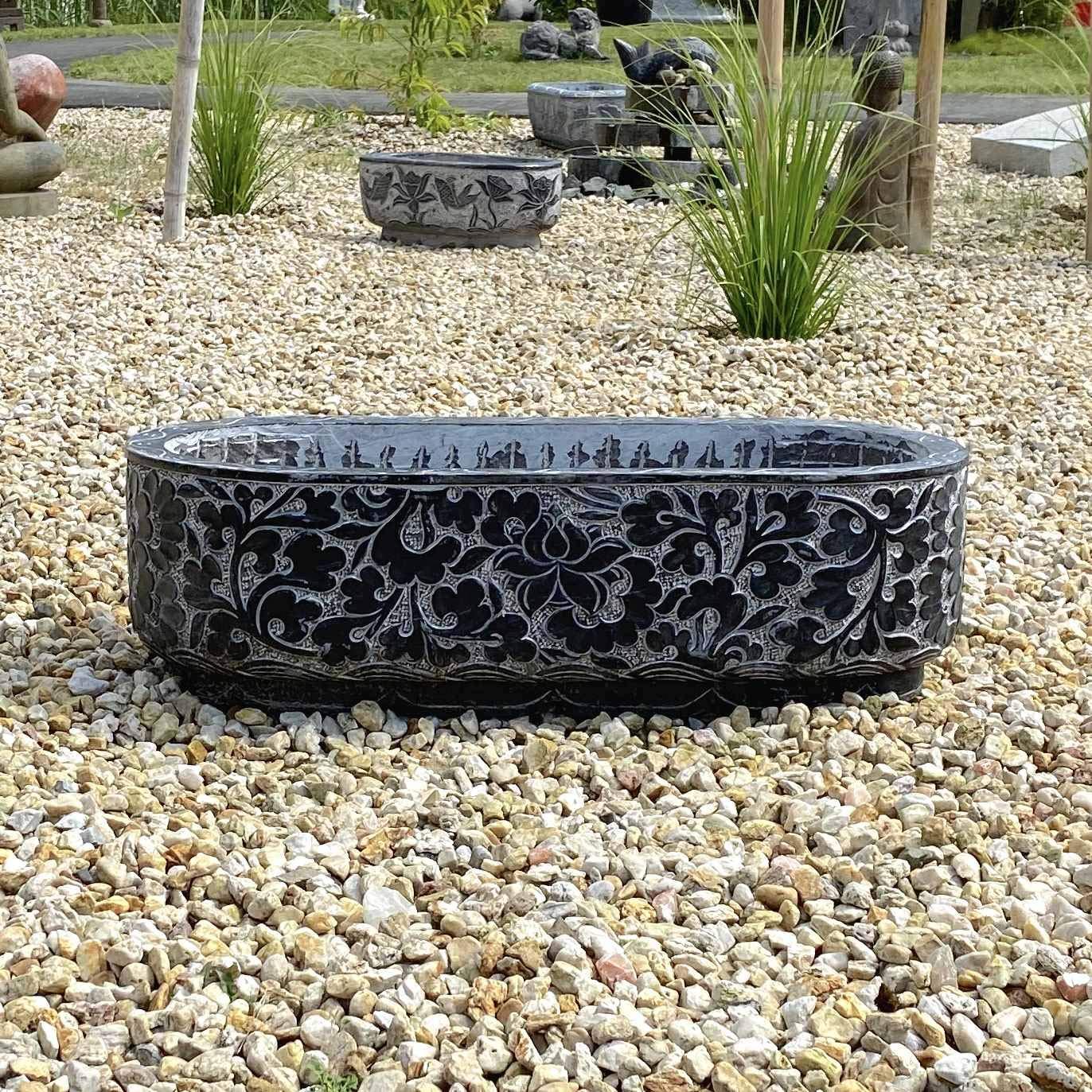 Asia Lifestyle - Gran macetero de piedra natural (90 cm) para jardín: Amazon.es: Jardín