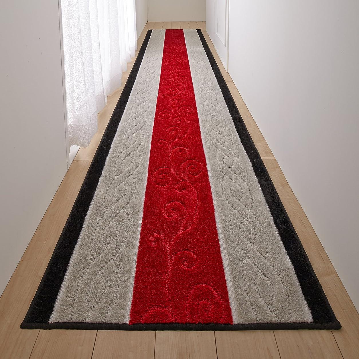 卑しい動揺させる形San-Luna 廊下敷きカーペット ロング カーペット 65×340cm 【ステラ】 日本製 ふかふか マット 滑り止め加工 (トルコ製生地使用) レッド 赤
