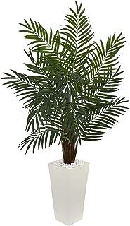 グリーンアレカ ヤシの木 人工植物 トロピカル インドア ヤシの木 タワープランター 花 ディプシス ルテスケンス 植物 アレケア 蝶 ヤシの木 ゴールデンケイン 植物 5.5フィート 伝統的 ホワイト ポリエステル
