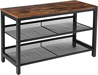 HOOBRO Shoe Bench, 3-Tier Shoe Rack, Shoe Storage Organizer with 2 Mesh Shelves for Entryway, Living Room, Hallway, Easy Assembly, Rustic Brown