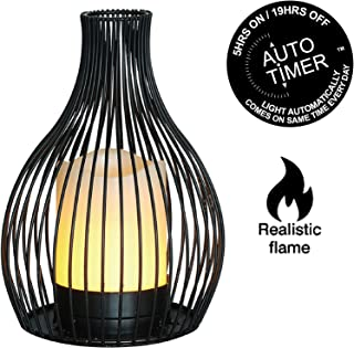JHY design Black Metal Wire Candle Holder with Dancing Flame LED Candle 8.25