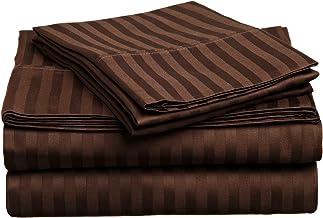 طقم ملاءات سرير 4 قطع من القطن الفاخر بنسبة 100% بكثافة 400 خيط في البوصة المربعة، مخطط، ملك منقسم - موكا