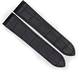 24.5mm Black Grain Leather Strap Watch Band Fits Cartier Santos 100 XL Chronograph by Vintage G.