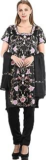 Caviar-Black Trouser Salwar Kameez Suit with Ari Embroidered Florals and Chiffon Dupatta