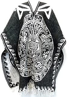 Del Mex Authentic Mexican Poncho Cobija Gaban Blanket -Black & White