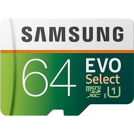 Samsung EVO Select - Tarjeta de Memoria microSD de 64 GB, 100 MB/s, Full HD y 4 K UHD, Incluye Adaptador SD para Smartphone, Tableta, cámara de acción, dron y portátil