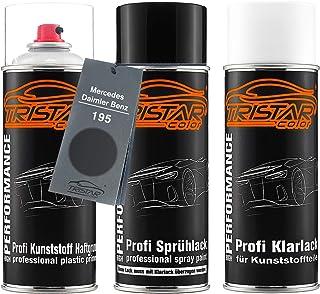 TRISTARcolor Autolack Spraydosen Set für Kunststoff Stoßstange für Mercedes/Daimler Benz 195 Meteorgrau Metallic Haftgrund Basislack Klarlack mit Weichmacher Sprühdose