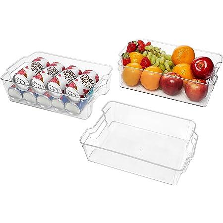 Kurtzy Bac Rangement Frigo et Placard (Lot de 3) - Boite Rangement Refrigérateur de 32,5 cm sans BPA - Bac en Plastique Transparent pour Organiser Salles de Bains, Congélateur, Placard et Tiroir
