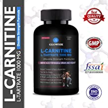 Glowsik L-Carnitine L-Tartrate 1000 mg weight loss fat burner supplements - 90 capsules