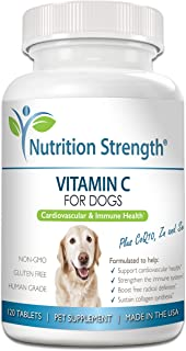 Nutrition Strength Vitamin C for Dogs to Support Cardiovascular Health, Help Strengthen The Immune System, Boost Free Radi...