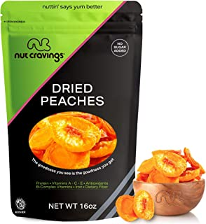 Sun Dried California Peaches, No Sugar Added (16oz - 1 Pound) Packed Fresh in Resealable Bag - Sweet Dehydrated Fruit Trea...