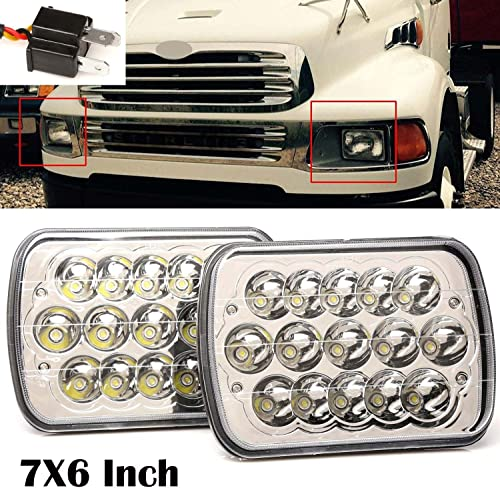 2021 For 2002-08 Sterling Truck LT9500 1999-2001 A9500 Commercial Truck 7x6 5x7 Inch LED Sealed Beam Headlights Hi/Lo discount H6014 / H6052 / H6054 / 6054 Super Bright, lowest 2 Year Warranty online