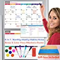 Crekert Dry Erase Calendar Magnetic All in One Whiteboard