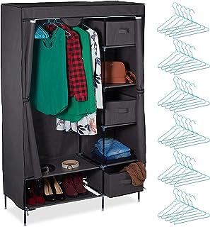 Relaxdays Armoire en Tissu, Meuble Pliant avec Une Tringle à vêtements & Compartiments, 172,5 x 111,5 x 43,5 cm, Gris, Aci...