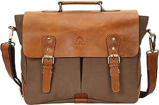 fcdc58a01e4e 15 Inch Rustic Town Handmade Leather Canvas Vintage Crossbody Messenger Bag  Gift Men Women Travel Work
