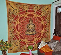 Gokul Handloom Buddha Meditation and Lotus Cotton Brown Wall Hanging Indian Tapestry Beach Hippie Bohemian Tapestries Wall Art Cotton 90x84 Inches