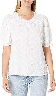 Lucky Brand Women's Short Sleeve Crew Neck Lauren Ruffle Top