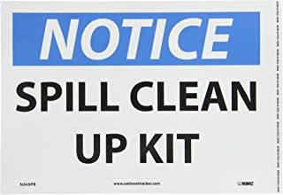 NMC N345PB NOTICE – SPILL CLEAN UP KIT – 14 in. x 10 in. PS Vinyl Notice Sign with White/Black Text on Blue/White Base