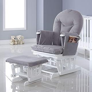 Ickle Bubba Alford - Silla de maternidad con 7 posiciones reclinables y taburete, color blanco y gris