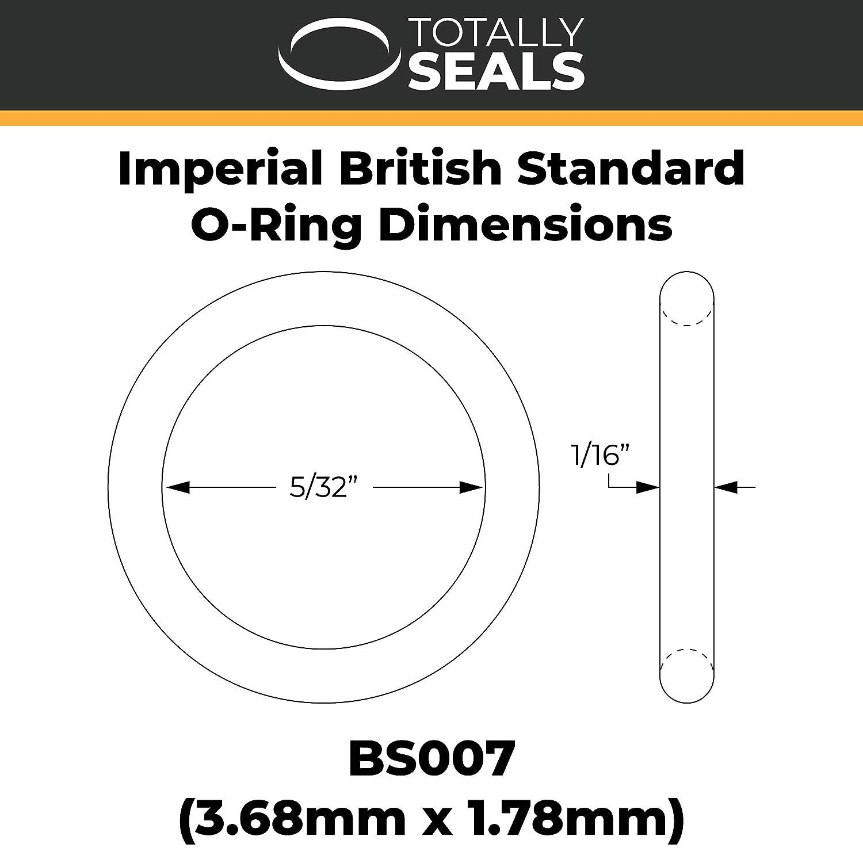Di/ámetro OD Anillos t/óricos de 3,68 mm x 1,78 mm imperial de nitrilo NBR de goma negra m/étrica 70A dureza Shore