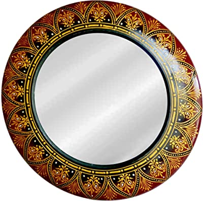 Wooden Designer Embossed mirror