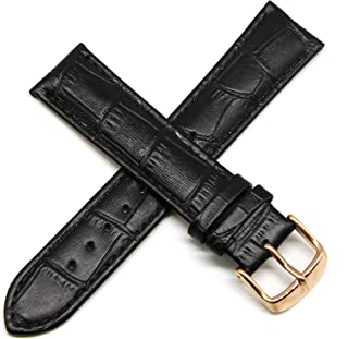 Lucien Piccard 20MM Alligator Grain Genuine Leather Watch Strap 8 Inches Black Rose Gold Fits Excalibur