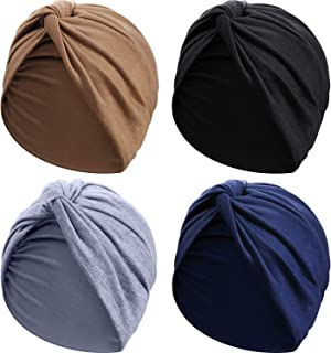 SATINIOR 4 Pieces Turbans for Women Soft Pre Tied Knot Fashion Pleated Turban Cap Beanie Headwrap Sleep Hat, 4 Colors
