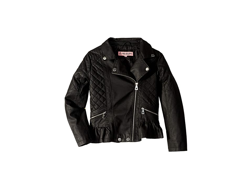Urban Republic Kids Faux Leather Moto Jacket (Little Kids/Big Kids) (Black) Girl