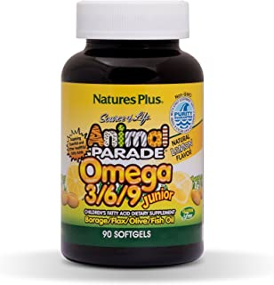 NaturesPlus Animal Parade Source of Life Omega 3 6 9 Junior - Lemon Flavor - 90 Softgels - Children's Fatty Acide Dietary ...