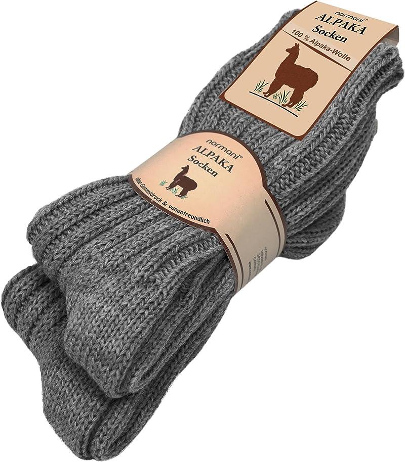 クラックやる毛皮[ノルマニ]normani アルパカ混 ソックス 100% 天然繊維 アルパカ?ウール 2足組