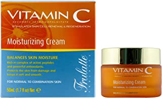 Vitamin C Face Moisturizer Cream with extracts of aloe vera, shea butter, jojoba, green tea and chamomile - Enriched with vitamin E for daily facial hydration - for normal to combination skin