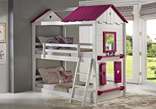DONCO Twin Sweetheart Bunk Bed BUNKBED TWIN/TWIN White/Pink
